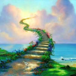 Escalier cieux verdoyant