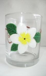 Peinture sur verre de table frangipanier blanc 2