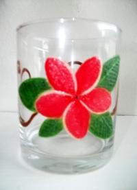 Peinture sur verre de table frangipanier rose 2